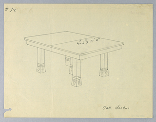 Rectangular molded top with dividing stretcher running across center raised on 5 plain stile legs terminating in flaring square feet with suggested floral ornament and three narrow molded bands above.
