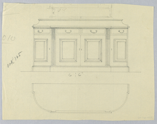 Elevation view: oblong sideboard with tri-partite front on low conforming platform; at center front, 2 doors below 2 drawers, flanked by 2 fluted pilasters and a door topped with single drawer and with molded decorative panel at center; low back splash. Plan view: shows oblong sideboard with rounded corners; indistinct sketch above probably meant to indicate dimensions of central front section.