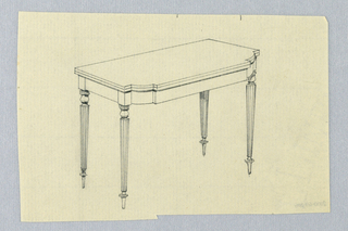 Drawing, Design for Rectangular Card Table with Round Fluted Tapering Legs