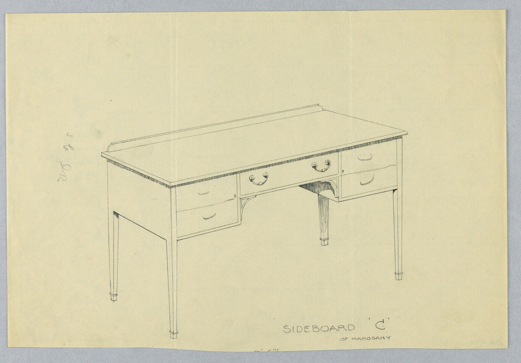 Rectangular sideboard on four tapering straight legs with one central drawer with two large swag-shaped handles flanked by a pair on smaller drawers, one on either side.