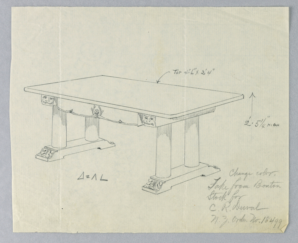 Drawing, Design for Massive Library Table for C. R. Duval