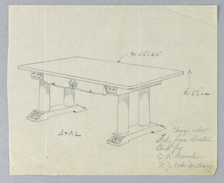 Drawing, Design for Massive Library Table for C. R. Duval, 1900–05