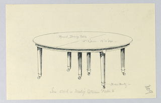 Round table top with dividing stretcher running across center, raised on 6 plain, straight, tapering legs on cup casters; legs clustered in pairs, one pair at either end and one pair center.