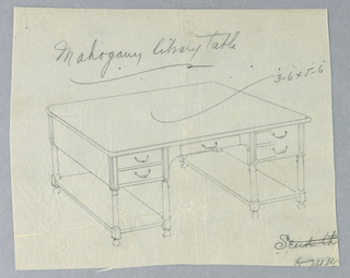 Drawing, Design for Mahogany Library Table with Ball Feet and Five Drawers, 1900–05