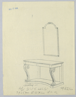Drawing, Design for Console Table with Fluted Volute Supports and Mirror Above