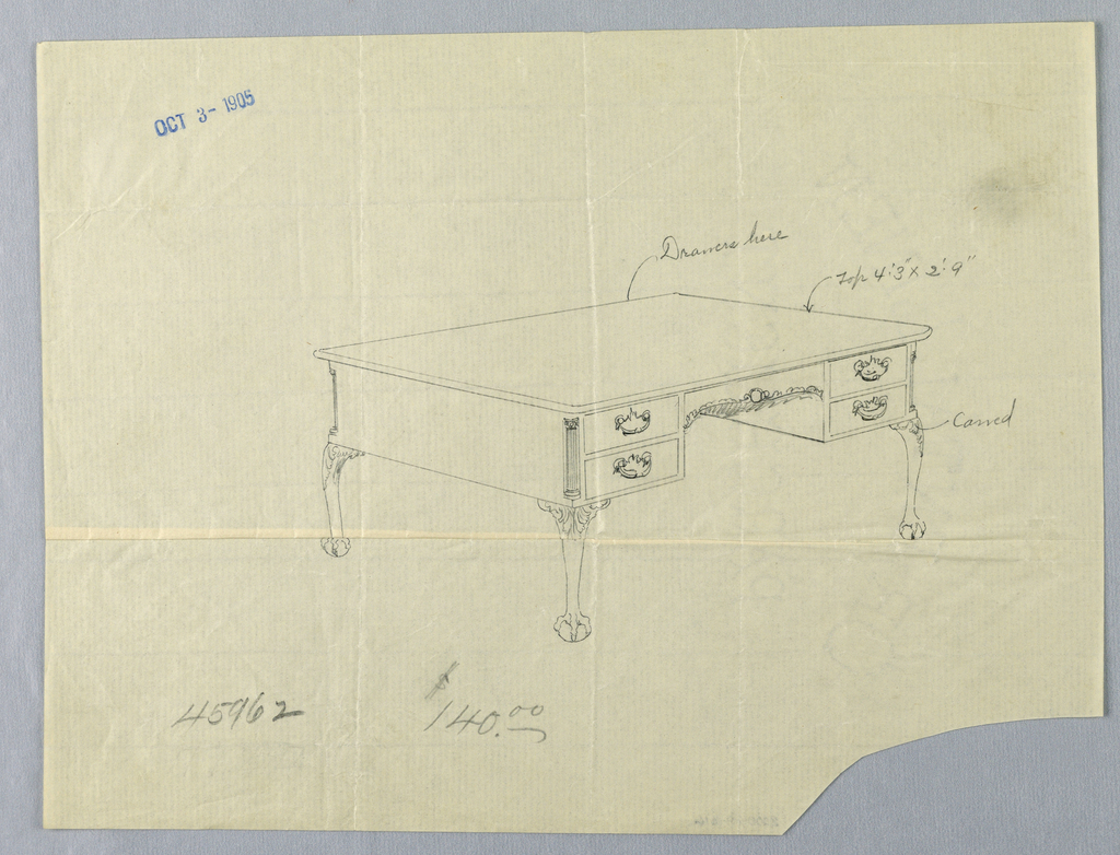 Drawing, Design for Rectangular Writing Table #45962 with Lion-Paw Feet