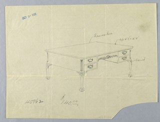 Drawing, Design for Rectangular Writing Table #45962 with Lion-Paw Feet, 1900–05