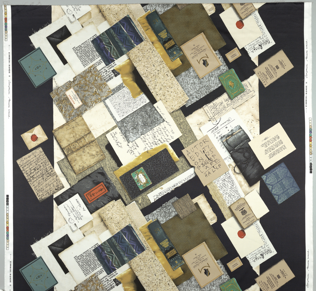 Collage of old book covers, printed pages and envelopes on beige ground with wide black stripes on both edges.