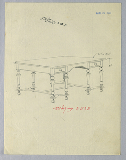 "Drawing, Design for Library Table with Eight Legs, ""H"" Stretcher, and Ball Feet, 1900–05"