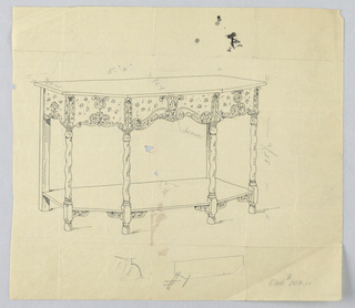 Drawing, Design for Console Table with Floral Motifs on Border