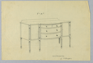 Sideboard of Mahogany on six fluted and turned tapering legs; two drawers stacked vertically in convex central section of tripartite front are topped by another pair of smaller drawers arranged horizontally; low backsplash at back of top.
