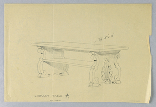"Drawing, Design for Library Table ""A"" of Oak with Solid Scrolled and Carved Sides, 1900–05"