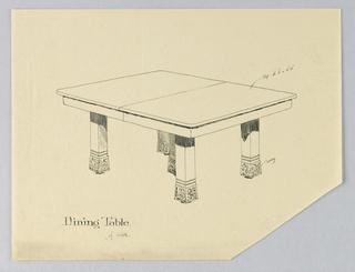 Drawing, Design for Five-Legged Rectangular Dining Table of Oak, 1900–05