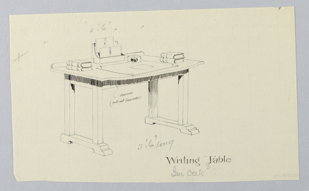 Drawing, Design for Writing Table with Hidden Drawer Center Front