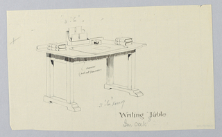Drawing, Design for Writing Table with Hidden Drawer Center Front, 1900–05