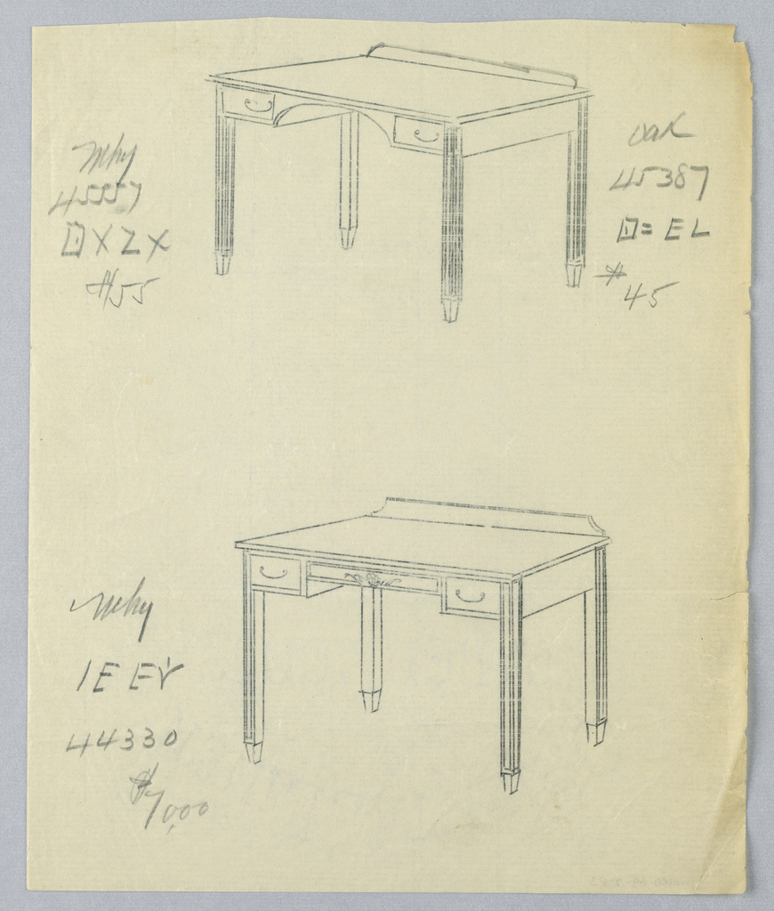 Drawing, Tracings of Alternate Designs for Writing Table #45