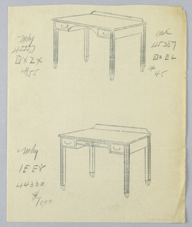Drawing, Tracings of Alternate Designs for Writing Table #45, 1900–05