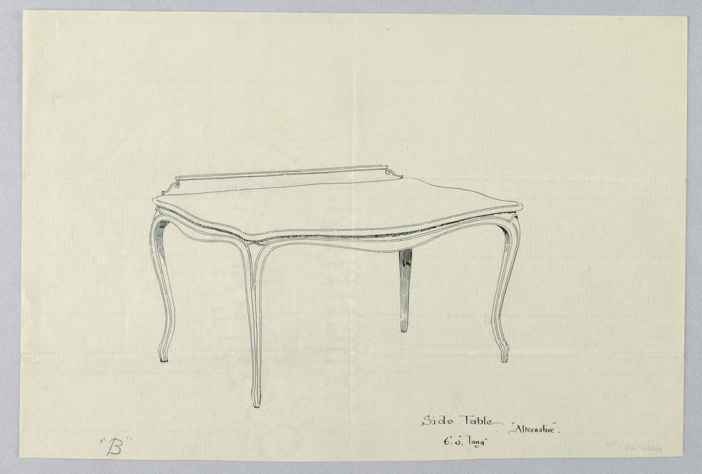 Alternative to -.96: Table surface with curved skirting supported by four cabriole legs.
