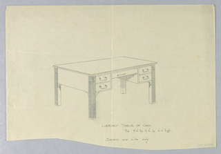 Drawing, Design for Library Table of Oak with Drawers on One Side and Fluted Square Legs, 1900–05
