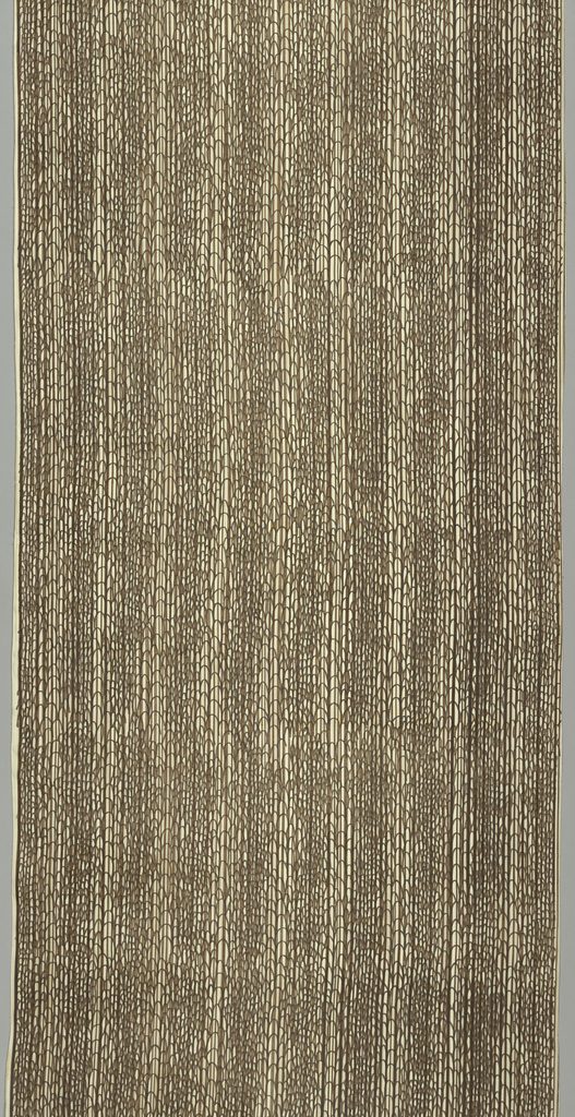Narrow length of silk suitable for wallcovering, with narrow stripes of browns and tan in the background, overprinted with a small-scale hand-drawn scallop design in deep brown.