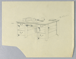 Drawing, Design for Library Table with Slide-Out Shelves Indicated, 1900–05