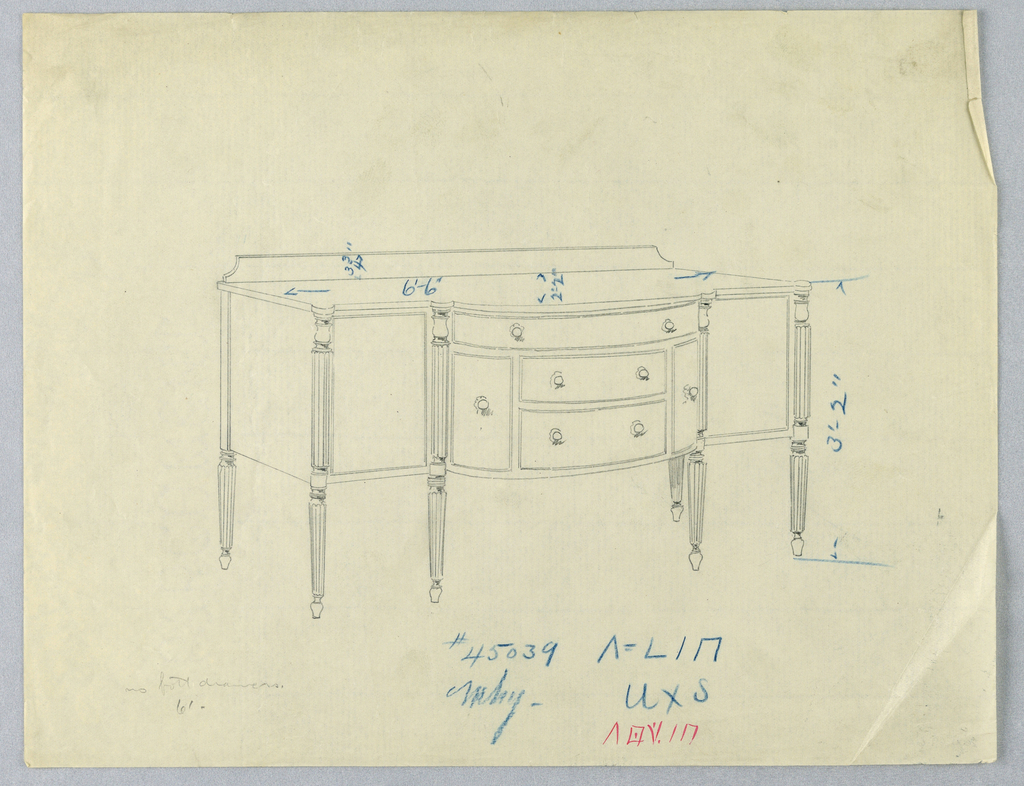 Rectangular sideboard on six tapering, fluted, and turned legs; tripartide front with convex central section with three horizontal drawers flanked by two vertical drawers; low backsplash at back of top.