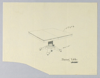 Drawing, Design for Rectangular Dining Table of Oak, 1900–05
