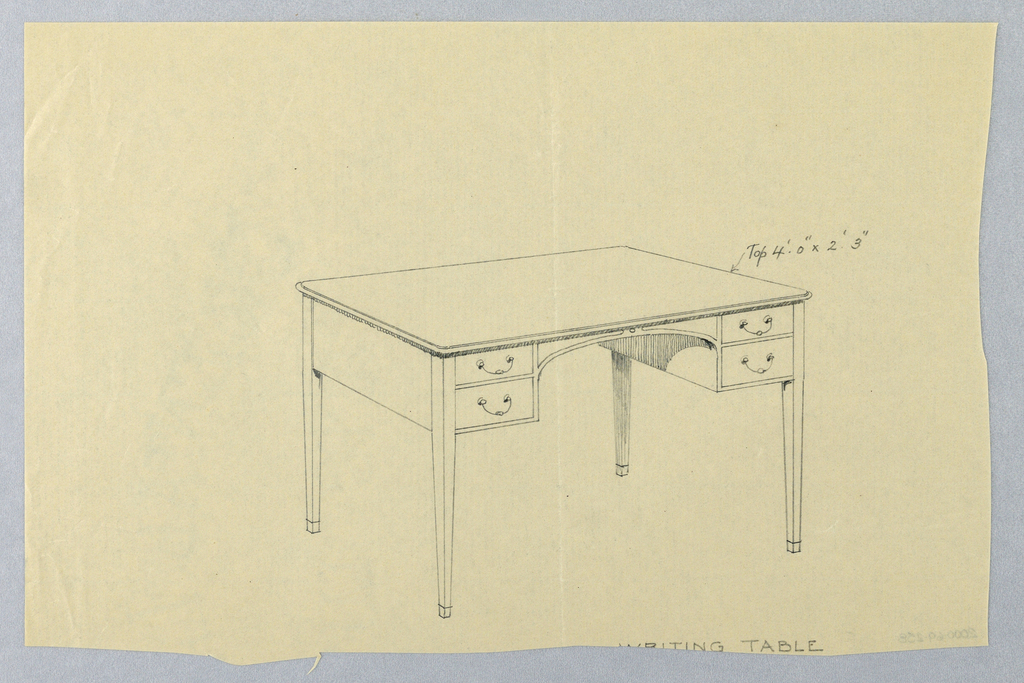 Drawing, Design for Writing Table with Arched Cut-Out at Center Front