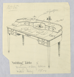 Drawing, Design for Semi-Circular Writing Table No. 15, 1900–05