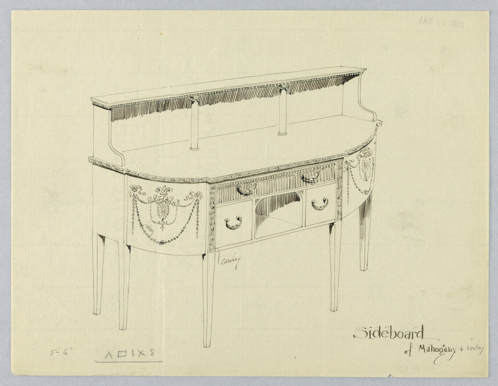 """Oblong sideboard with rounded front corners and neo-classical motifs; 6 straight tapering legs [5 shown]; niche front center, flanked by 2 small rectangular drawers and topped by  large single inlaid drawer; vertical stripes of decorative carving either side of niche; raised backsplash, pair of columns, and 2 """"L""""-shaped volutes support narrow upper shelf."""