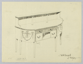 "Oblong sideboard with rounded front corners and neo-classical motifs; 6 straight tapering legs [5 shown]; niche front center, flanked by 2 small rectangular drawers and topped by  large single inlaid drawer; vertical stripes of decorative carving either side of niche; raised backsplash, pair of columns, and 2 ""L""-shaped volutes support narrow upper shelf."