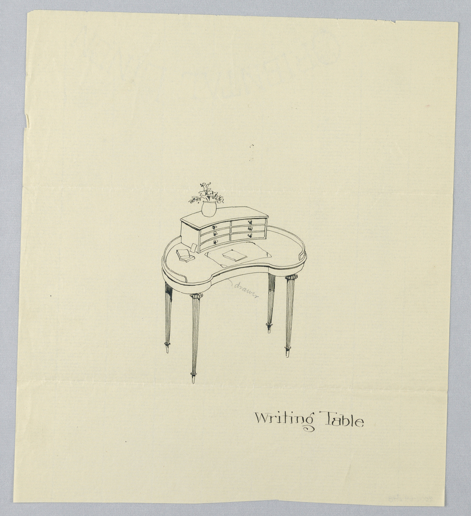Drawing, Design for Kidney-Shaped Writing Table with Six-Drawer Upper Cabinet