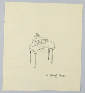 Drawing, Design for Kidney-Shaped Writing Table with Six-Drawer Upper Cabinet, 1900–05