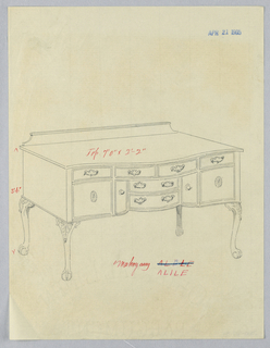 Oblong sideboard with four cabriole legs with ball and claw feet decorated with carved acanthus leaves at top of each; tri-partite front is serpentine with four conforming drawers at center atop recessed central section which has two drawers with a door on either side; flanking central section on either side, two doors decorated with patera medallions; low backsplash.