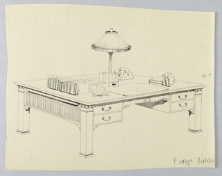 Drawing, Design for Large Library Table on Plain Square Legs, 1900–05