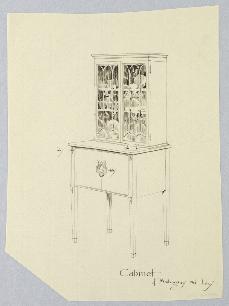 Retangular body with 2 doors decorated with one oval patera medallion center; raised on 4 straight, slightly tapering legs; tall cubboard atop with glass doors and china  plates and cups inside; cup and saucer on right of lower cabinet.