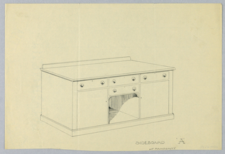 Massive rectangular sideboard over molded lower shelf; niche under two drawers, center front; single drawer with cupboard underneath on either side of niche; low backsplash.