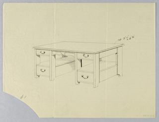 Drawing, Design for Massive Library Table #1 with Plain Circular Decoration Top Center