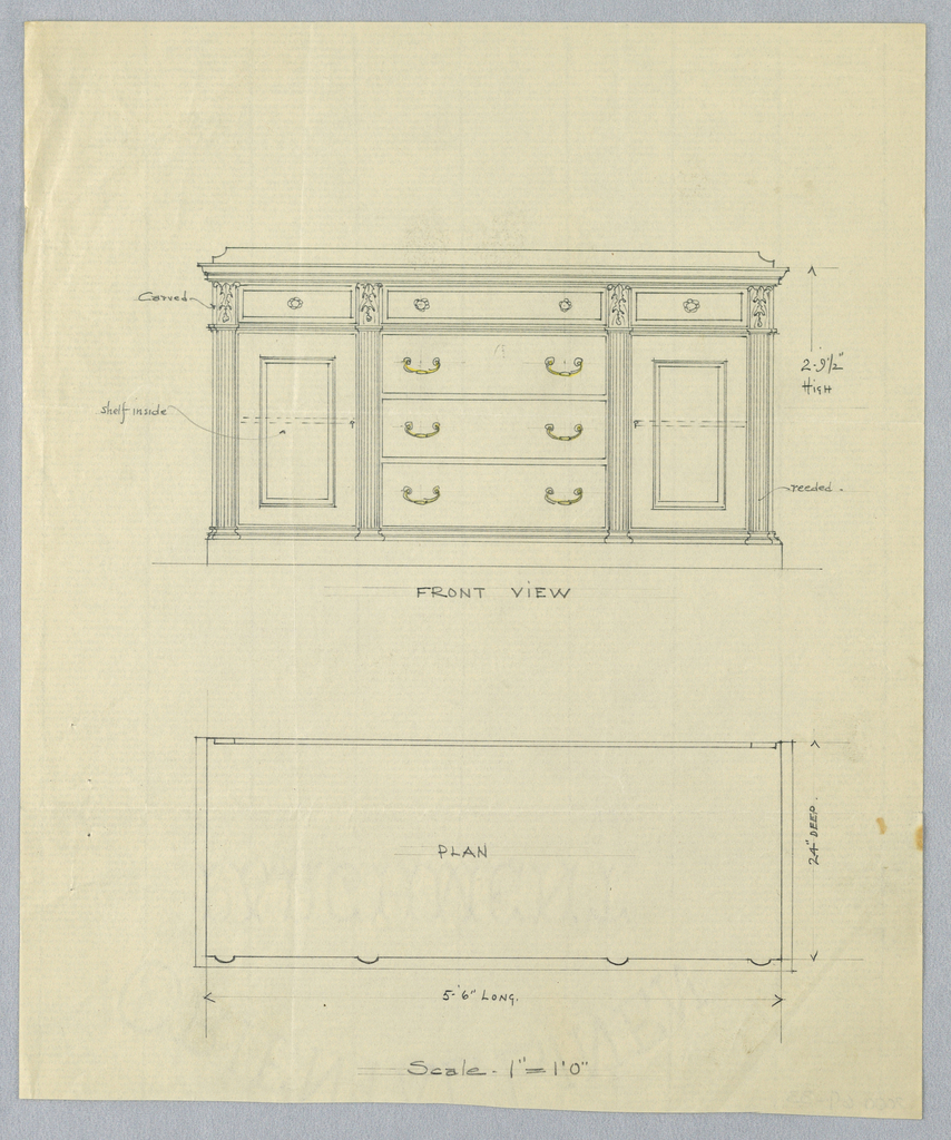 Drawing, Elevation and Plan for Sideboard with Reeded Pilasters