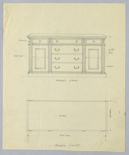 """Elevation: front of sideboard with tri-partite front divided by four reeded pilasters; central front has four horizontal drawers with """"C""""-shaped handles indicated in yellow pencil; side sections each have a closed cupboard topped with single drawer; low backsplash."""
