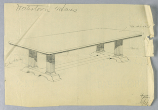 Drawing, Design for Long Library Table with Fluted Columnar Supports; for Watertown, Massachusetts, 1900–05