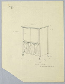 Rectangular cabinet with molded, frieze-like top, raised on 4 short, tapering legs on casters; closed upper shelf with 2 doors; open lower compartment filled with large folios separated by 2 bracket-shaped dividers.