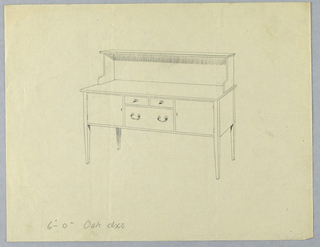 """Rectangular sideboard with four straight tapering legs; tri-partite front with three drawers in two rows at center, flanked by door/cabinet either side; extended back and """"L""""-shaped volutes support upper shelf."""