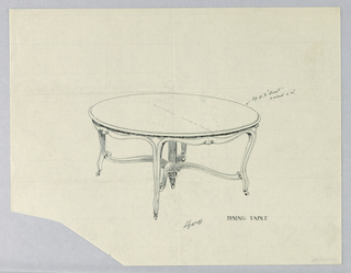 Drawing, Design for Round Dining Table on Cabriole Legs, 1900–05