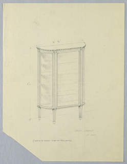 Demi-lune-shaped glass cabinet with flattened center front; molding along top edge; 4 shelves; raised on 4 short tapering legs.