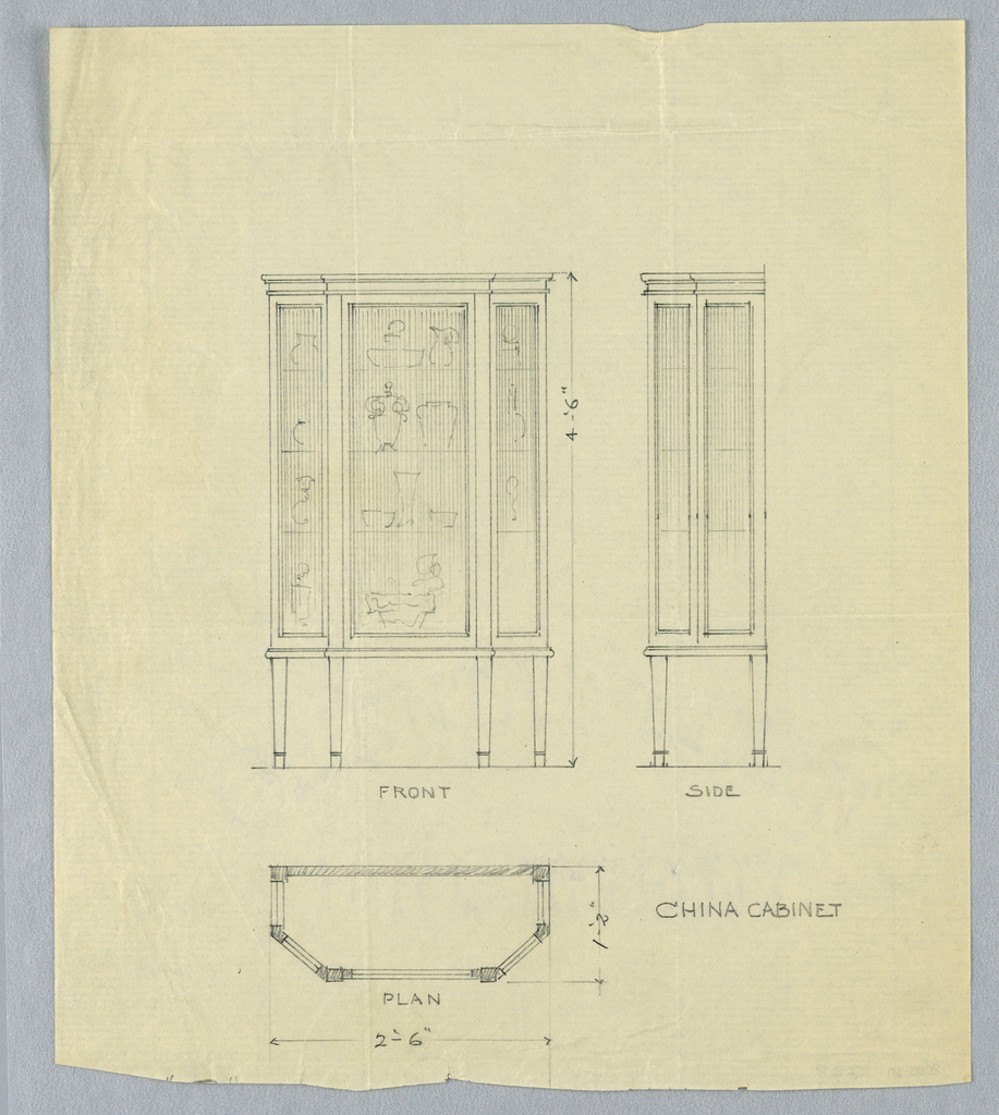 Drawing Design For China Cabinet In Three Views 190005 Objects