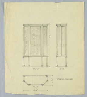 Elevation at upper left, side view upper right, plan across bottom of sheet; tall rectangular cabinet with tri-partite glass-front panel, raised on 4 slightly tapering legs.  Side view shows rectangular, narrow profile with  molded frieze-like top.  Plan shows oblong silhouette of cabinet with canted front corners.