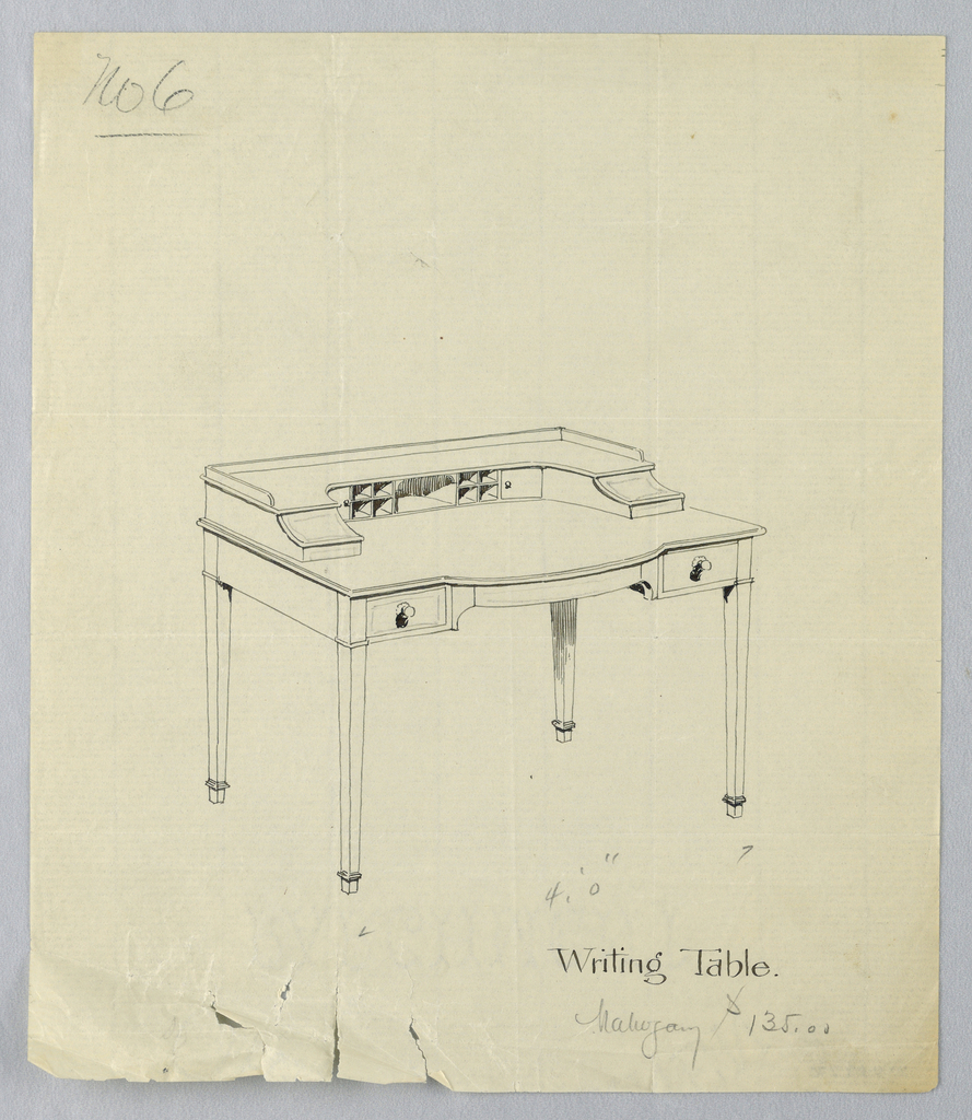 Drawing, Design for Writing Table No. 6