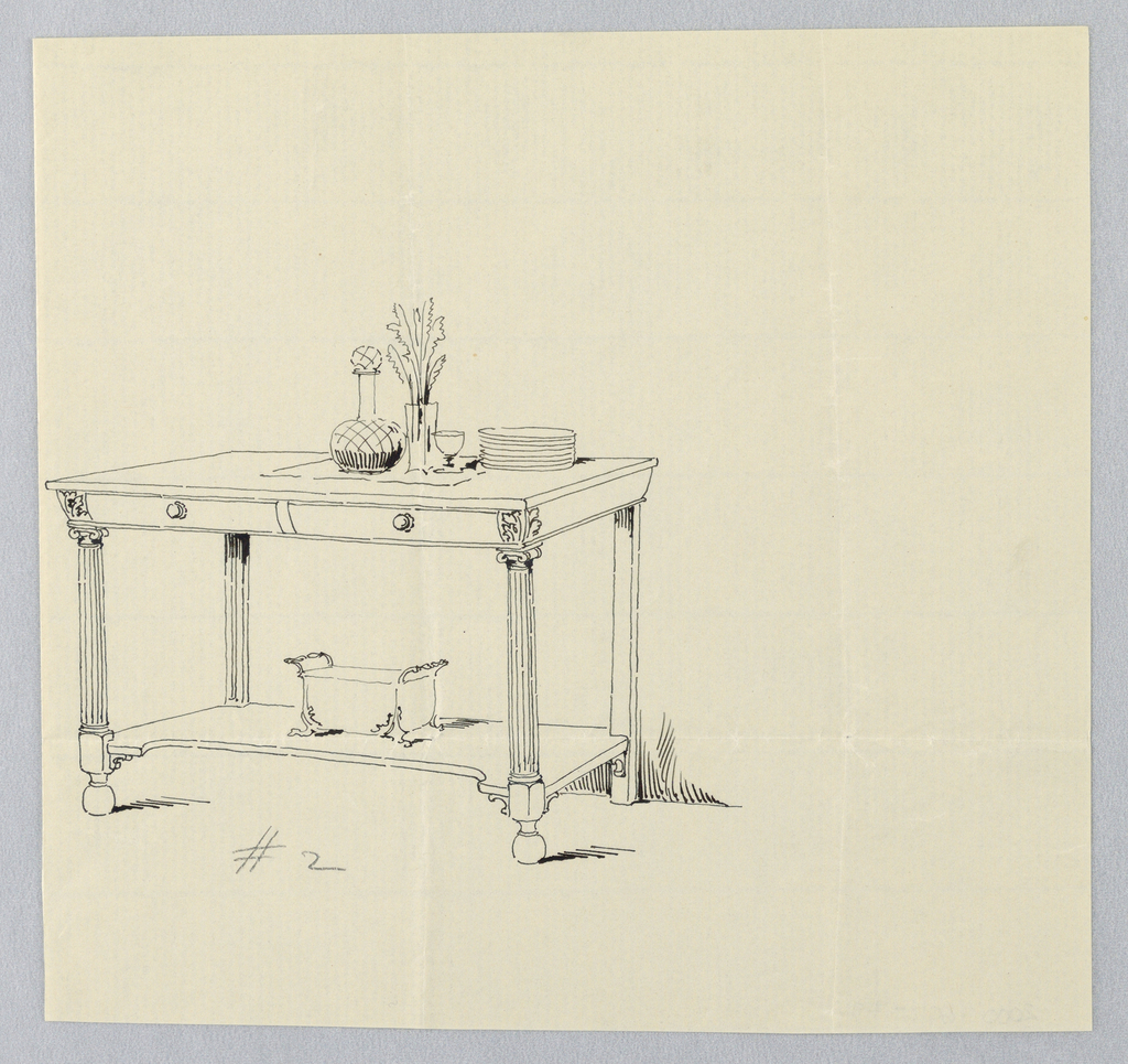 Rectangular slightly tapered front with 2 drawers and acanthus leaf motifs at corners; raised on 2 front ionic columnar fluted legs terminating in ball feet, and 2 plain straight plain legs at back; molded oblong lower shelf attaches just above floor level; on table top, decanter, vase with flowers, wine glass, and stack of plates; on lower shelf, wine cooler with floral feet.