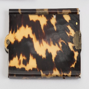 Rectangular card case, tortoiseshell patterning has uneven opacity. Two sides of case connected at bottom, center of pertruded half-circle pinned together, allowing the sides to fan outward, revealing cards within